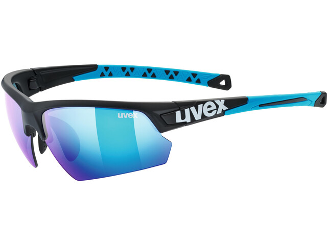 UVEX Sportstyle 224 Glasses black matt blue/mirror blue